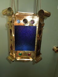 American Early 20th c Oil Brass Hanging Lamp $650.00