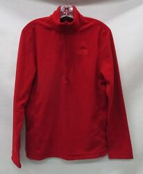 North Face Mens TKA 100 Glacier 14 Zip Pullover C744 Rage RedRage Red Large
