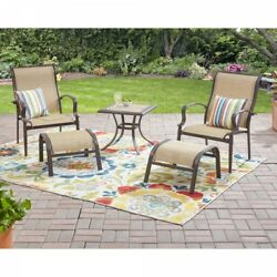 Outdoor Patio Table And Chairs 5 Piece Deck Fabric Footrest Furniture Set Beige
