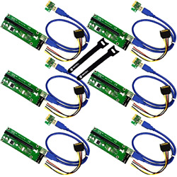 MintCell 6 Pack PCIe 4 Pin MOLEX PCI E 16x to 1x Powered Riser Adapter Card $32.45