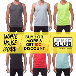 PROCLUB PRO CLUB MENS PLAIN TANK TOP CASUAL SLEEVELESS MUSCLE TEE FITNESS GYM $5.99