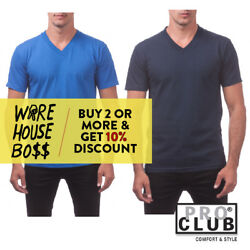 PROCLUB PRO CLUB MENS PLAIN V NECK SHORT SLEEVE T SHIRT CASUAL COTTON TEE ACTIVE $12.95