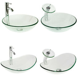 Bathroom Tempered Glass Clear Basin Vessel Sink Bowl With Faucet Set RoundOval $59.99