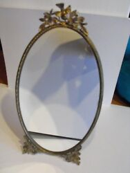 RARE 1950'S VINTAGE DOUBLE Signed Matson Vanity Top Standing Mirror Gold Ormolu