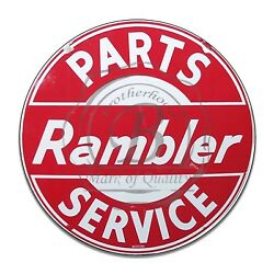 Rambler Parts And Service Red And White Reproduction Circle Aluminum Sign $16.95