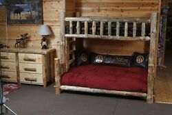 Log TWIN OVER FULL Bunk Bed Rustic Lodge Cabin Furniture Strongest available