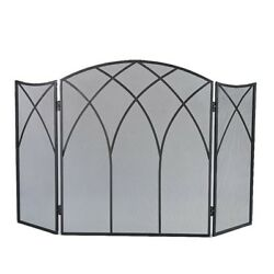 Gothic Fireplace Screen 3 Panel Curved Arch Design Cover Decorative Sparks Black