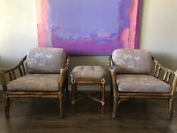 Beautiful McGuire Bamboo Rattan Lounge Chairs with Matching Footrest!