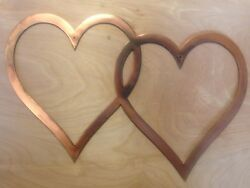 2 Hearts Wall Art Hanging in Rustic Copper Patina $29.95