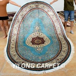Yilong 6'x9' Oval Persian Silk Rugs Hand Knotted Carpets Original Hand Made 0716
