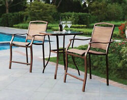 3-Piece High Outdoor Bistro Set Patio Furniture Bar Table Chair Deck Pool Dining