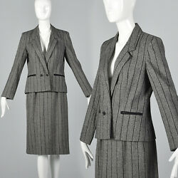 S 1980s Gray Black Tweed Suit Double Breasted Jacket Pencil Skirt Separates 80s $51.00