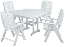 5 PC Outdoor Dining Furniture Patio Garden Lawn Yard Table Chair Folding Plastic