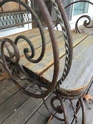 Set of 5:  3 Garden Chairs and 2 Settees Bench Wrought Iron Antique Vintage