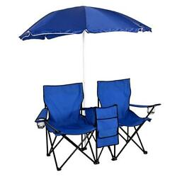 Chair Set Double Folding Umbrella Table with Cooler Picnic Camping Beach Seat $59.83