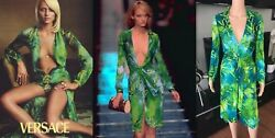 GIANNI VERSACE RUNWAY SS 2000 PLUNGING NECKLINE DRESS GOWN ICONIC! COLLECTIBLE!
