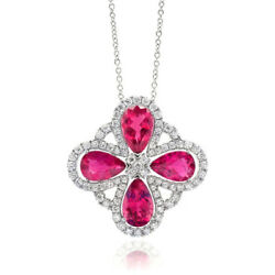 Natural Rubellites 11.22 carats set in 14K White Gold Pendant with Diamonds