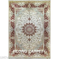 Yilong 6'x9' Hand Knotted Persian Silk Rug Indoor Outdoor Carpets Handmade 0284