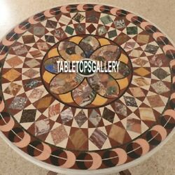 Real Designer Marble Cafateria Side Table Inlaid Marquetry Work Patio Art H4033A