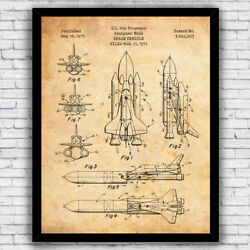 NASA Space Ship Shuttle Patent Wall Art Print Decor Size and Frame Options $17.00
