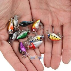 Lot 10Pcs Fishing Lures Kinds Of Minnow Fish Bass Tackle Hooks Baits Crankbait $10.99