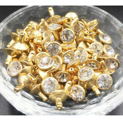 Czech White Clear Crystal Rivets Gold Color Metal Studs DIY LeatherCraft $6.29