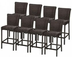 8 PCs Brown Solid Back Barstool Wicker Style Chair Outdoor Patio Furniture 30 in