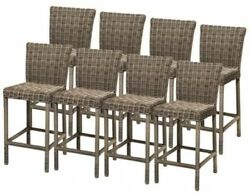 8 PCs 30 in Solid Back Barstool Wicker Style Chair Seat Outdoor Patio Furniture