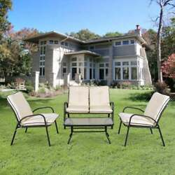 4 Piece Patio Coffee Chairs And Table Outdoor Porch Furniture Garden Set S1K4