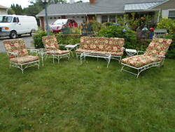 (8)pc. Wrought Iron Seating GroupCouch+2 Chairs+Chaise Lounge+Tables wCushions