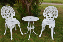 Angel White Garden Bistro Set Table and Two Chairs for Yard & Patio 3 Pieces