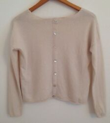 Miss Selfridge CASHMERE Wool Mix Cream Jumper Mother of Pearl Back Buttons UK10
