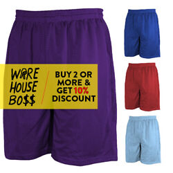 MENS PLAIN MESH SHORTS 2 POCKET CASUAL BASKETBALL SHORTS GYM FITNESS HIP HOP $5.49