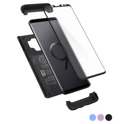 Galaxy S9  S9 Plus  Spigen® [Thin Fit 360] Hybrid Cover + Tempered Glass Case