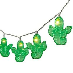 Green Cactus Plastic Patio Battery String Lights 10 Count 65