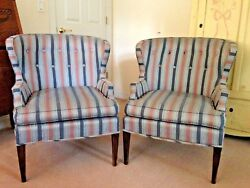 Mid Century Pair of Baker Wing Chairs