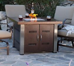 Gas Fire Pit Table Outdoor Fireplace Sale Propane LP Firepit Patio Bronze Finish