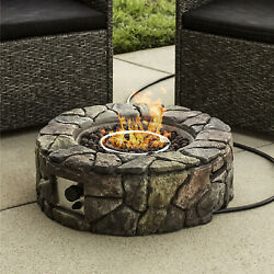 Natural Gas Fire Pit Outdoor Portable Propane Burner Flame Small Ring Rock Home