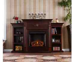 TV Stand With Fireplace Entertainment Center Electric Heater Wood Mantle Shelf