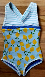NWT HANNA ANDERSSON BLUE LEMONS REVERSIBLE ONE PIECE SWIMSUIT SOLD OUT 110 4 5 6