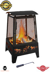 Outdoor Fire Pit Patio Wood Insert Burning Steel Screen Fireplace Heating Kits