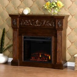 Fireplace Adjustable Flame Height Espresso Freestanding Blower Classic Brown