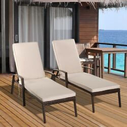 Outdoor Cushioned Chaise Chairs Rattan Lounge Garden Deck Adjustable Chair Set