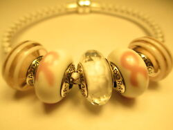 5 Pandora Silver 925 Ale Fascinating White Pink Ribbon of Hope Glass Beads Charm