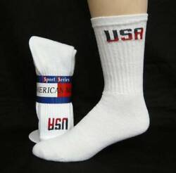 6 Pairs Big Mens Extended Size USA LOGO Soft Cotton Blend Crew Socks USA Made $18.95