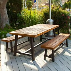 Picnic Table Bench Dining Iron Frame Wood Patio Garden Table and 2 Benches