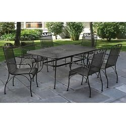 Wrought Iron Dining Set 7 Piece Outdoor Black Umbrella Hole Mesh Table Chairs