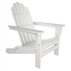 Folding Adirondack Chair for Outdoor Patio Deck Garden in White Wood Finish