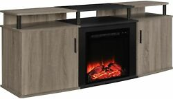 70 IN TV Stand Console Living Room Furniture Electric Fireplace Storage Brown