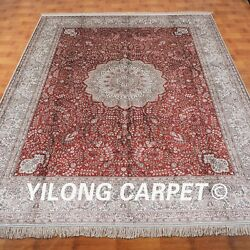 YILONG 8'x10' Handknotted Silk Persian Carpet Home Library Indoor Rug M032A